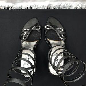 Aldo designer inspired corkscrew bow heels